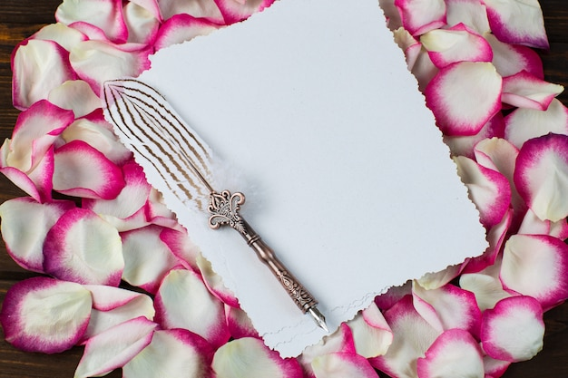 Pétales de roses roses et blancs et une feuille de papier et un vieux stylo-plume