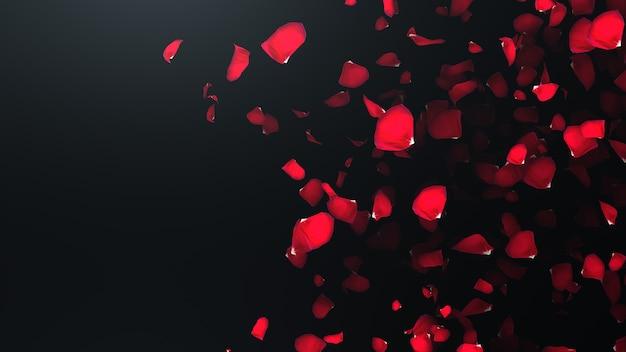 Pétales de roses volantes avec onn noir