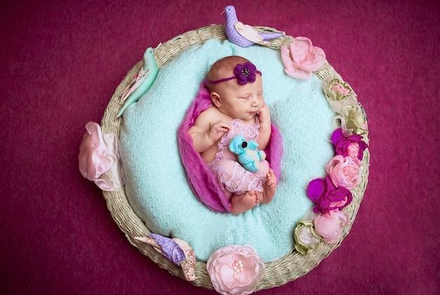 Le petit bébé est dans le panier