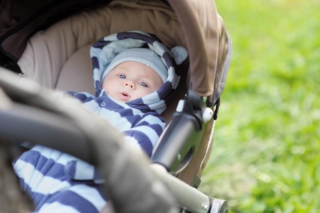 Petit bébé garçon en poussette en plein air