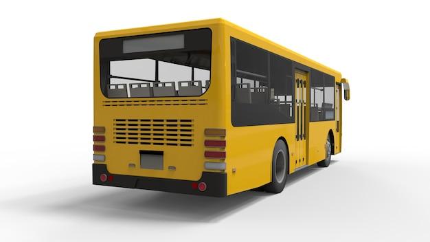 Petit bus urbain jaune sur fond blanc. rendu 3d.