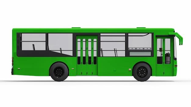 Petit bus vert urbain. rendu 3d.