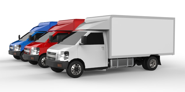 Petit camion blanc, rouge, bleu. service de livraison de voiture. livraison de marchandises et de produits aux points de vente