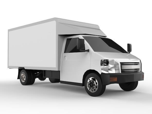 Petit camion blanc. service de livraison de voiture. livraison de biens et de produits aux points de vente. rendu 3d.