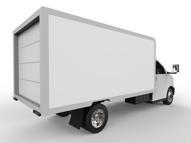Petit camion blanc. service de livraison de voiture. livraison de biens et de produits aux points de vente.