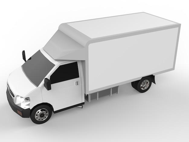 Petit camion blanc. service de livraison de voiture. livraison de marchandises et de produits aux points de vente au détail. rendu 3d.