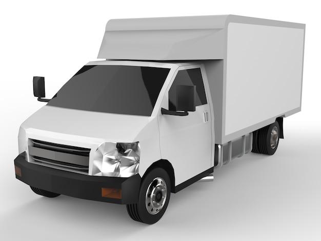 Petit camion blanc. service de livraison de voiture. livraison de marchandises et de produits aux points de vente