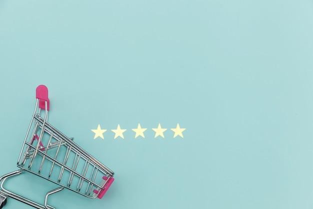 Petit chariot de poussée d'épicerie de supermarché pour faire du shopping avec des roues et 5 étoiles