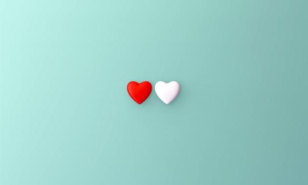 Petit coeur blanc et rouge placé au milieu sur fond bleu. concept doux de la saint-valentin.