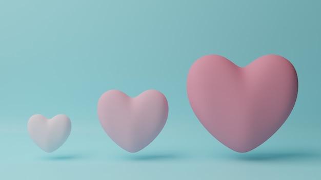 Petit coeur rose à grand coeur rose avec table cyan. concept de la saint-valentin. illustration de rendu 3d.