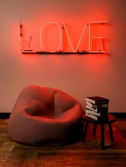 Petit coin lecture avec une bouffée et une petite table avec des livres. scène éclairée par une enseigne au néon avec le mot