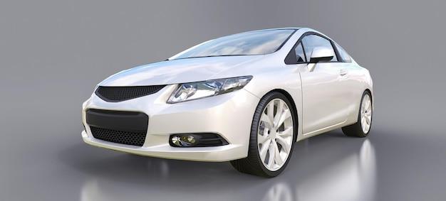 Petit coupé de voiture de sport blanc. rendu 3d.