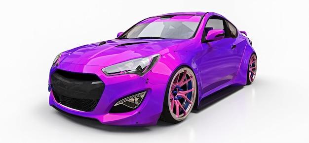 Petit coupé de voiture de sport violet. réglage de course avancé avec des pièces spéciales et des extensions de roues. rendu 3d.