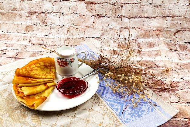 Petit déjeuner, crème, lait, crêpe, nourriture, fait maison, assiette