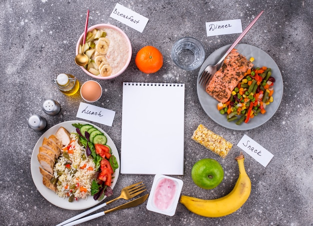 Petit-déjeuner déjeuner et diner. menu équilibré