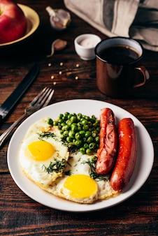 Petit-déjeuner avec des œufs au plat, des saucisses et des pois verts sur une plaque blanche