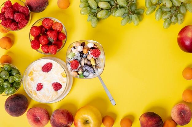 Petit déjeuner plat de céréales dans un cadre de fruits