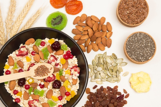 Petit-déjeuner protéiné équilibré au muesli. fruits baies graines, noix.