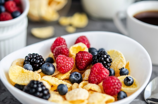 Petit-déjeuner Sain Avec Des Cornflakes Dans Une Assiette Blanche, Des Baies, Du Lait Et Des Noix Photo Premium