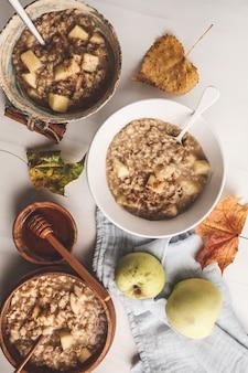 Petit-déjeuner sain poser. gruau aux pommes à la cannelle et au miel.