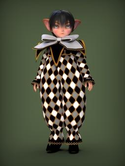 Petit elfe de clown dans une illustration 3d de costume noir et blanc