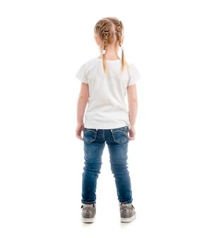 Petit enfant, debout, dos, tourné, isolé