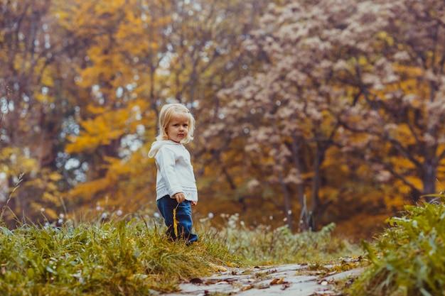 Le petit enfant avec une feuille d'érable se promène dans le parc en automne