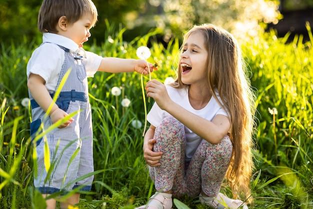Petit frère et soeur dans des vêtements d'été lumineux. amusant et amusant de jouer avec des pissenlits blancs et jaunes moelleux sur fond d'herbes hautes et d'arbres verts luxuriants dans le jardin printanier.