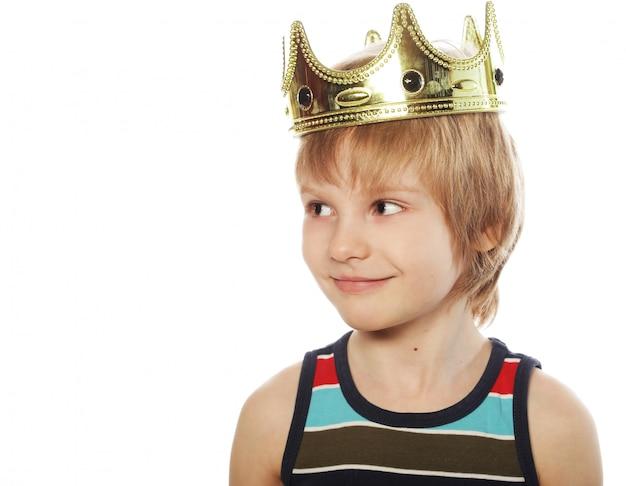 Petit garçon, à, couronne