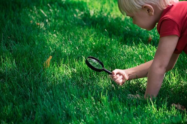 Petit garçon explorant avec une loupe regarde l'herbe. concept de découverte d'enquête