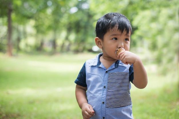 Petit garçon, manger des glaces au terrain de jeu avec un temps heureux.
