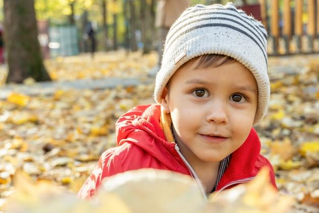 Petit garçon mignon avec bouquet de feuilles tombées jaunes en automne dans le parc