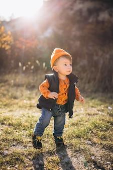 Petit garçon mignon dans un parc en automne