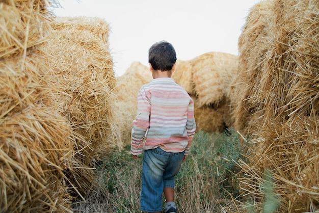 Petit garçon près de balle de foin dans le champ.