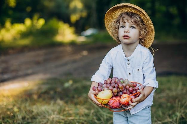 Petit garçon avec des raisins en forêt sur un pique-nique