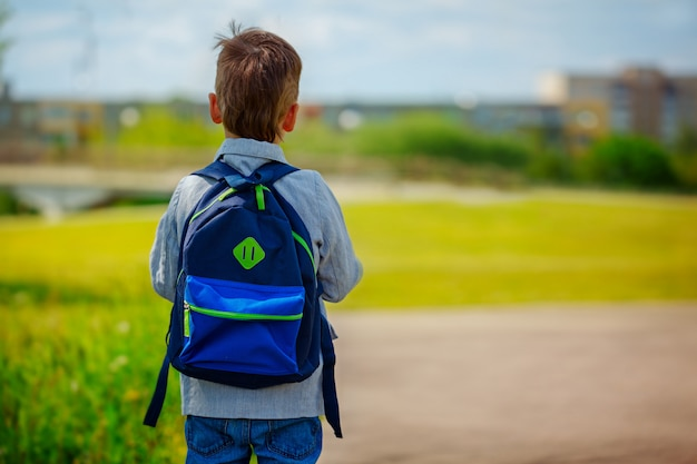 Petit garçon avec un sac à dos va à l'école. vue arrière