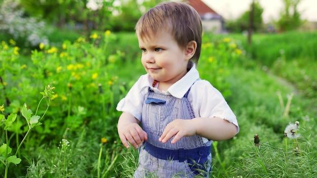 Un petit garçon en salopette en jean aux yeux bleus expressifs. sauter et s'amuser dans les hautes herbes vertes sur fond d'un grand buisson vert et d'un jardin fleuri.