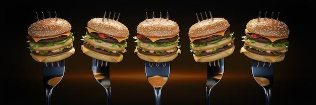 Un petit hamburger coincé dans la fourchette le concept de rendu 3d d'une nutrition adéquate