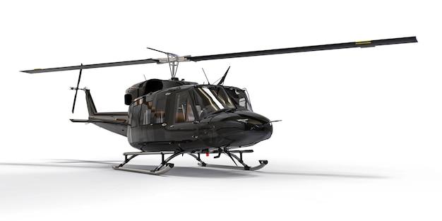 Petit hélicoptère de transport militaire noir sur fond blanc isolé. le service de sauvetage par hélicoptère. taxi aérien. hélicoptère pour la police, les pompiers, les ambulances et les services de secours. illustration 3d.