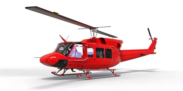 Petit hélicoptère de transport militaire rouge sur un espace isolé blanc. le service de sauvetage par hélicoptère. taxi aérien. hélicoptère pour police, pompiers, ambulance et secours. illustration 3d.