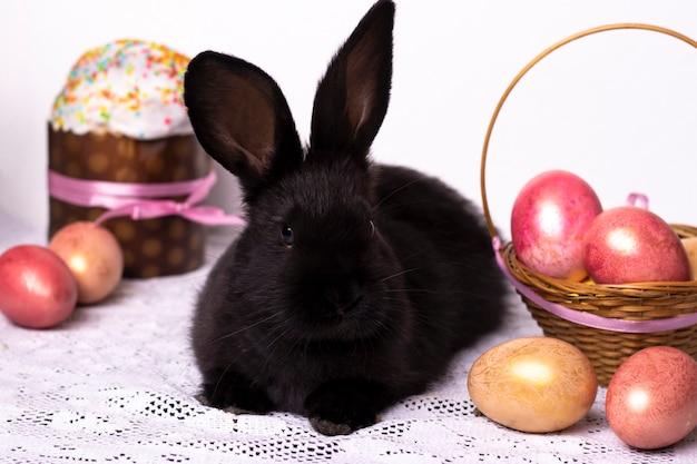 Petit lapin noir dans la composition de pâques avec des œufs et des gâteaux de pâques