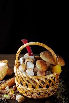 Petit panier aux champignons d'automne