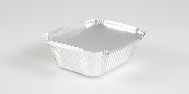 Petit plat dans un plateau en aluminium chromé à emporter
