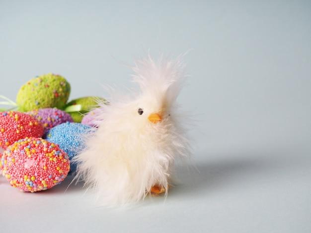 Petit poulet blanc à côté des œufs colorés pour pâques.