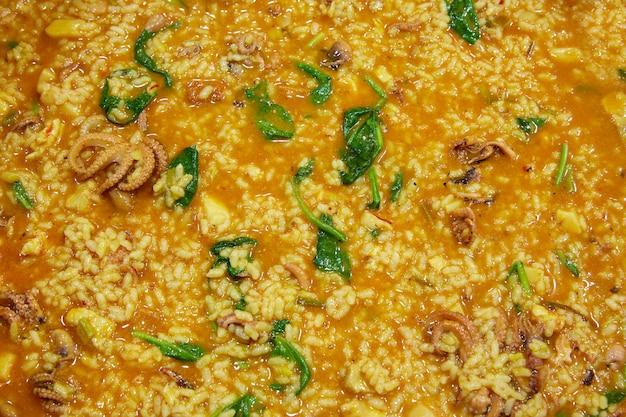 Petit riz de pieuvre aux épinards et à la courge