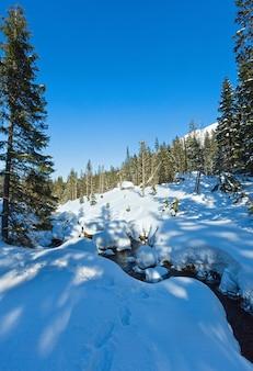Petit ruisseau de montagne avec forêt de sapins sur pente rocheuse enneigée d'hiver.