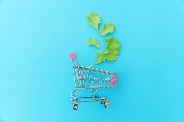 Petit supermarché épicerie chariot pour faire du shopping avec des feuilles de laitue verte isolé sur fond coloré pastel bleu