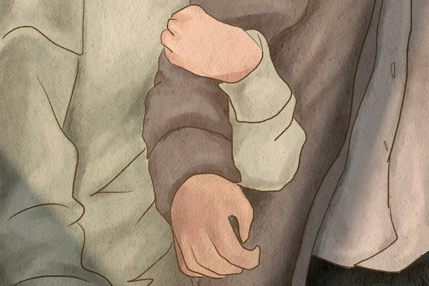 Petite amie étreignant le bras de son petit ami thème de la saint-valentin illustration dessinée à la main
