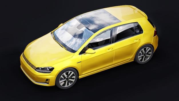 Petite berline de voiture familiale jaune sur surface noire