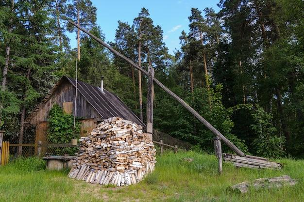 Petite cabane dans le jardin avec bois de chauffage